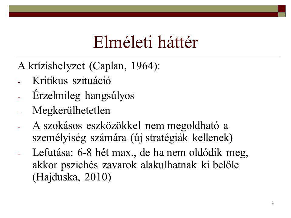 4 Elméleti háttér A krízishelyzet (Caplan, 1964): - Kritikus szituáció - Érzelmileg hangsúlyos - Megkerülhetetlen - A szokásos eszközökkel nem megoldható a személyiség számára (új stratégiák kellenek) - Lefutása: 6-8 hét max., de ha nem oldódik meg, akkor pszichés zavarok alakulhatnak ki belőle (Hajduska, 2010)