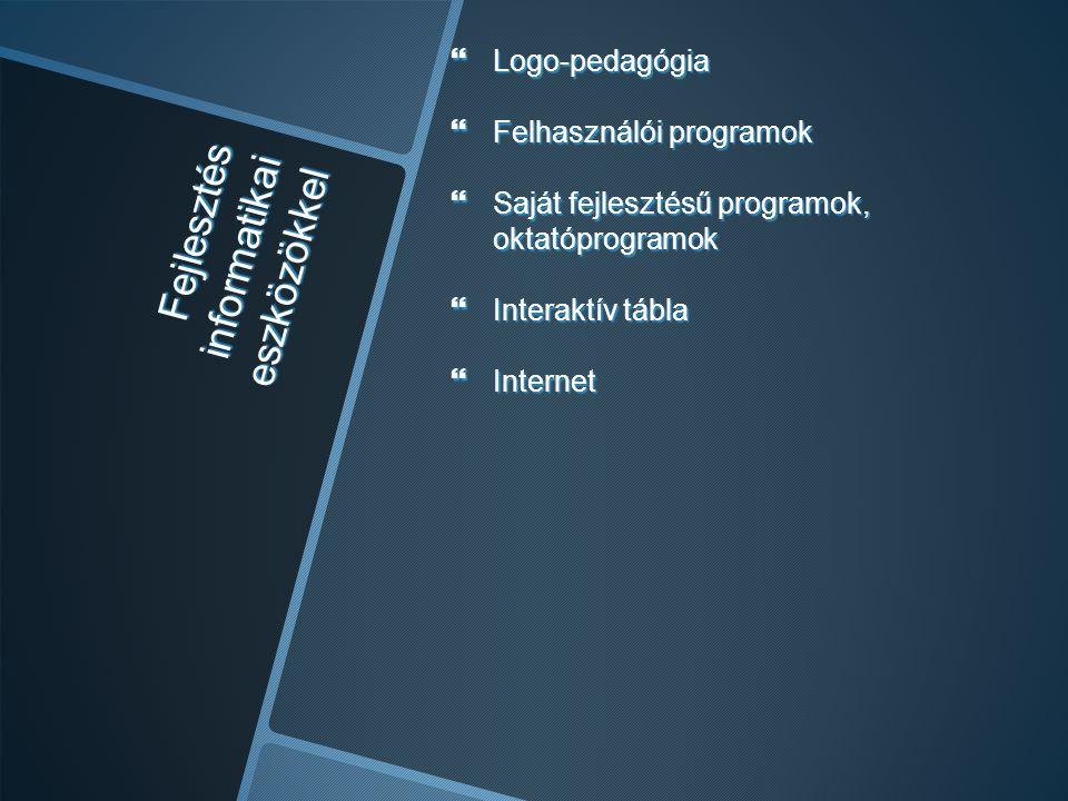  Logo-pedagógia  Felhasználói programok  Saját fejlesztésű programok, oktatóprogramok  Interaktív tábla  Internet Fejlesztés informatikai eszközö