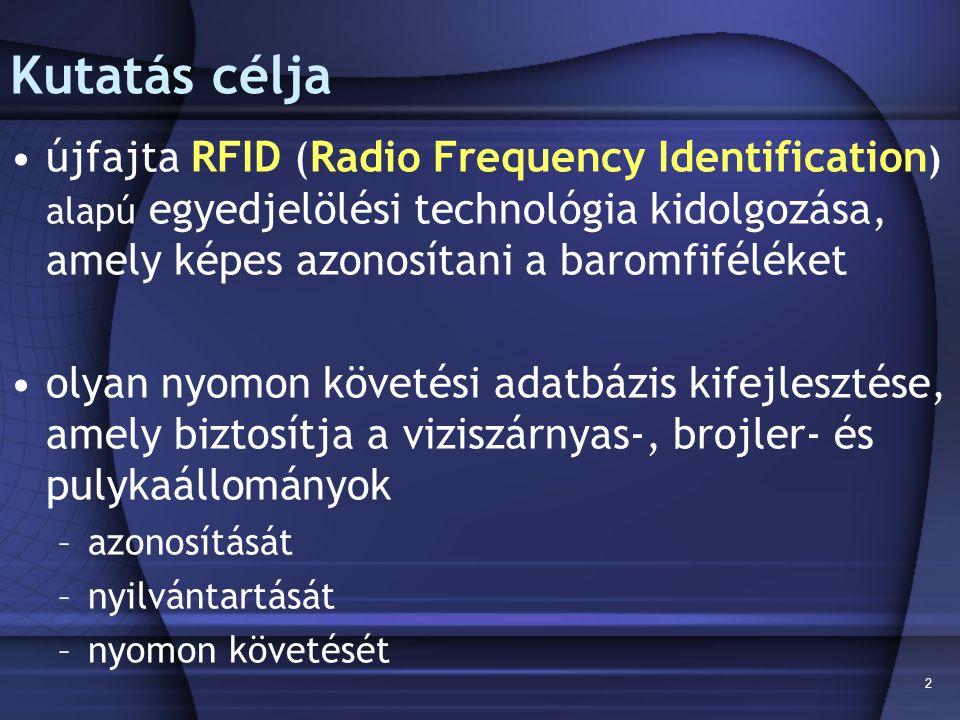 2 Kutatás célja újfajta RFID (Radio Frequency Identification ) alapú egyedjelölési technológia kidolgozása, amely képes azonosítani a baromfiféléket o