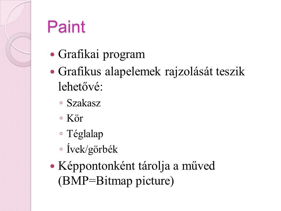 Paint Grafikai program Grafikus alapelemek rajzolását teszik lehetővé: ◦ Szakasz ◦ Kör ◦ Téglalap ◦ Ívek/görbék Képpontonként tárolja a műved (BMP=Bitmap picture)