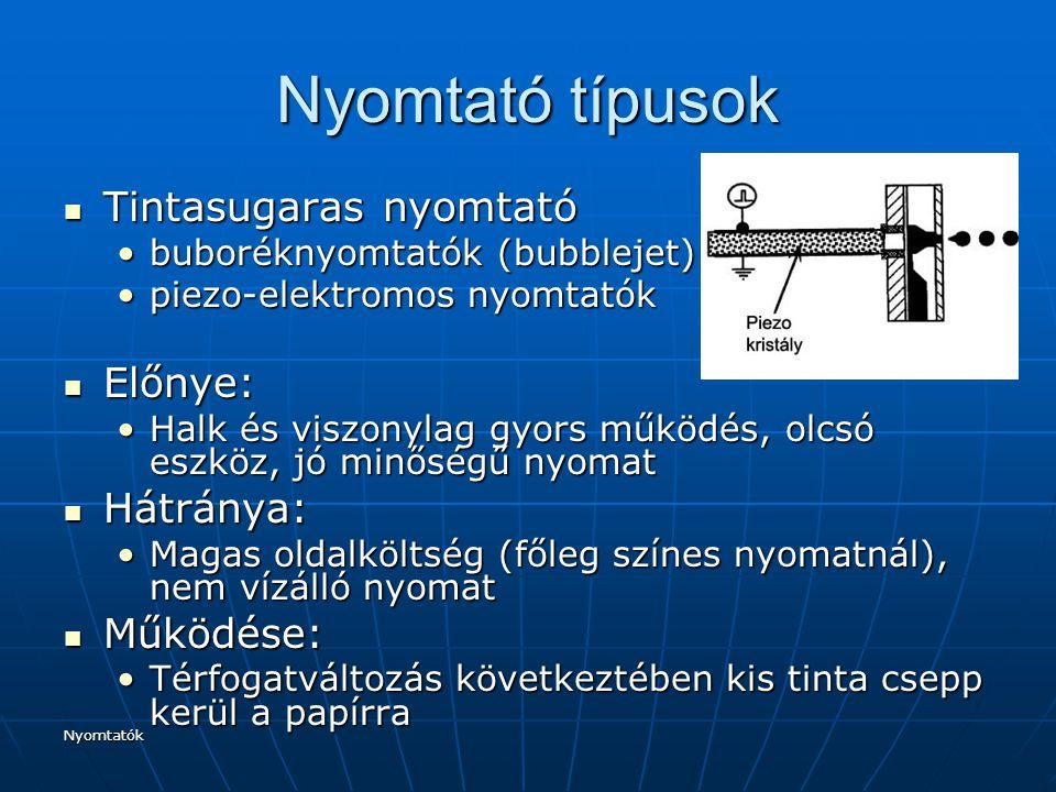 Nyomtatók Nyomtató típusok Tintasugaras nyomtató Tintasugaras nyomtató buboréknyomtatók (bubblejet)buboréknyomtatók (bubblejet) piezo-elektromos nyomt