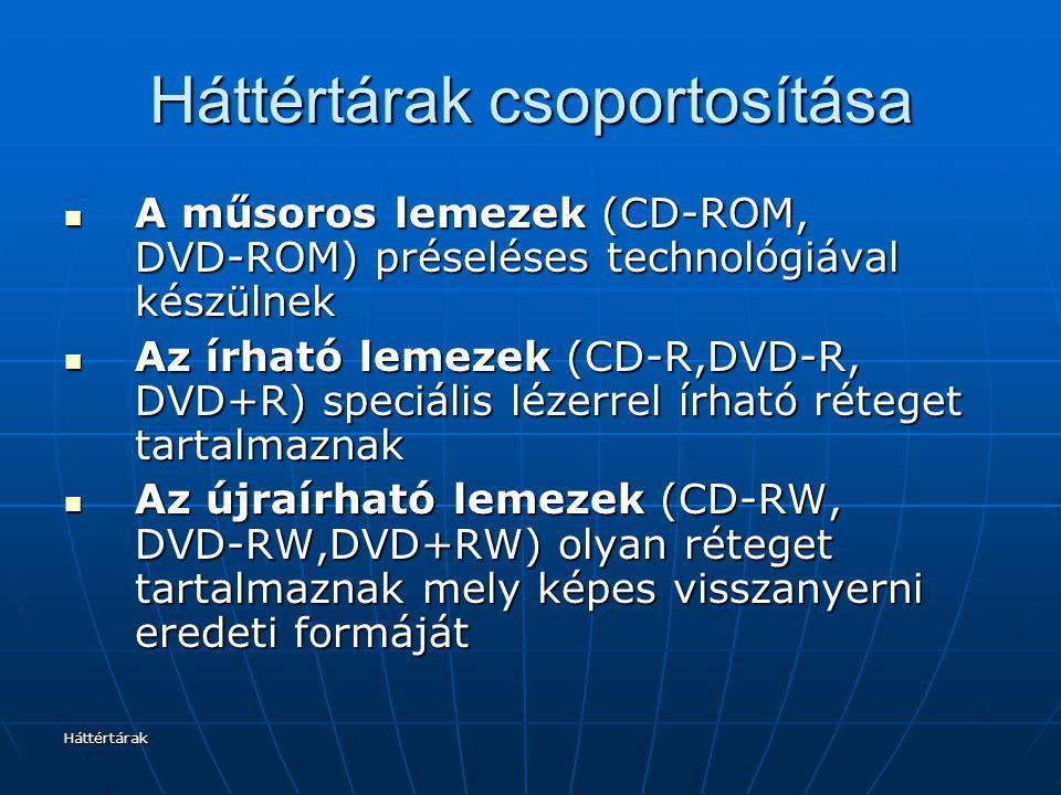 Háttértárak Háttértárak csoportosítása A műsoros lemezek (CD-ROM, DVD-ROM) préseléses technológiával készülnek A műsoros lemezek (CD-ROM, DVD-ROM) pré