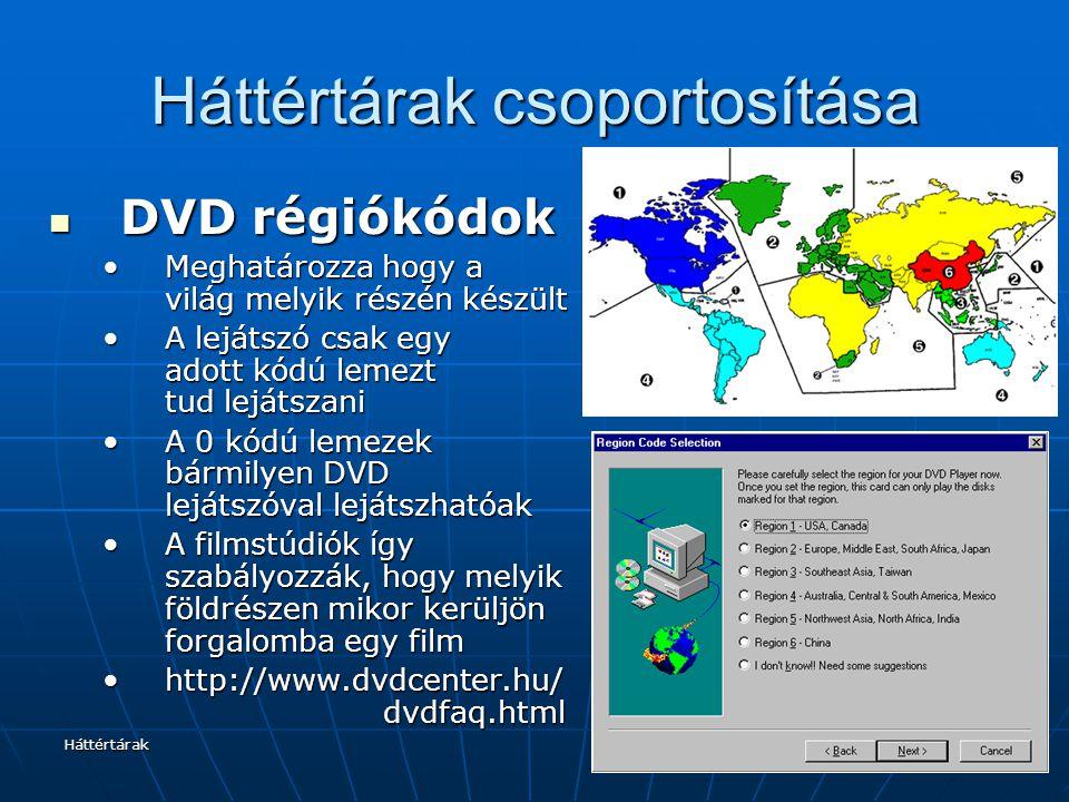 Háttértárak Háttértárak csoportosítása DVD régiókódok DVD régiókódok Meghatározza hogy a világ melyik részén készültMeghatározza hogy a világ melyik r