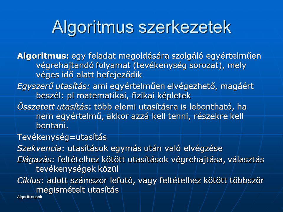 Algoritmusok Algoritmus szerkezetek Algoritmus: egy feladat megoldására szolgáló egyértelműen végrehajtandó folyamat (tevékenység sorozat), mely véges