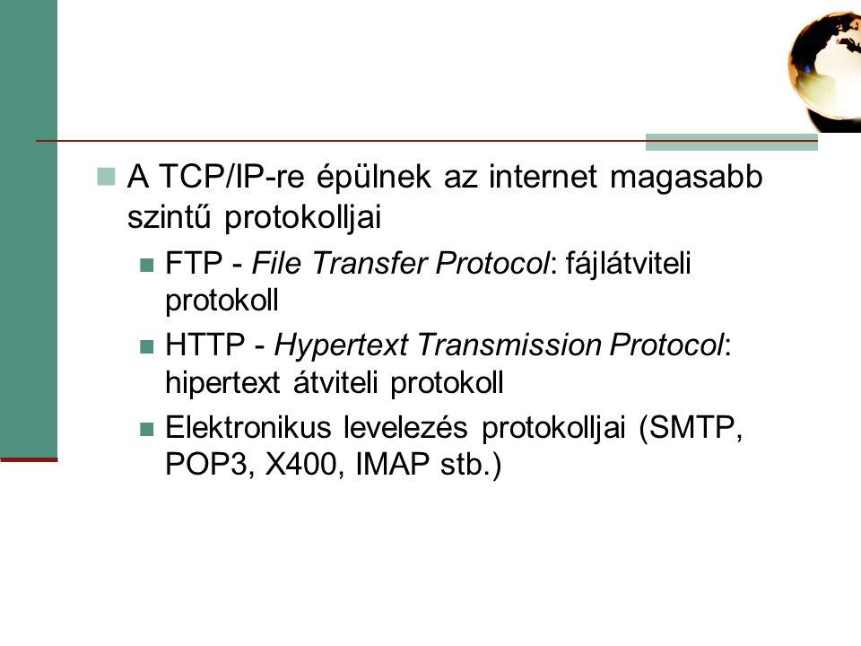 A TCP/IP-re épülnek az internet magasabb szintű protokolljai FTP - File Transfer Protocol: fájlátviteli protokoll HTTP - Hypertext Transmission Protocol: hipertext átviteli protokoll Elektronikus levelezés protokolljai (SMTP, POP3, X400, IMAP stb.)