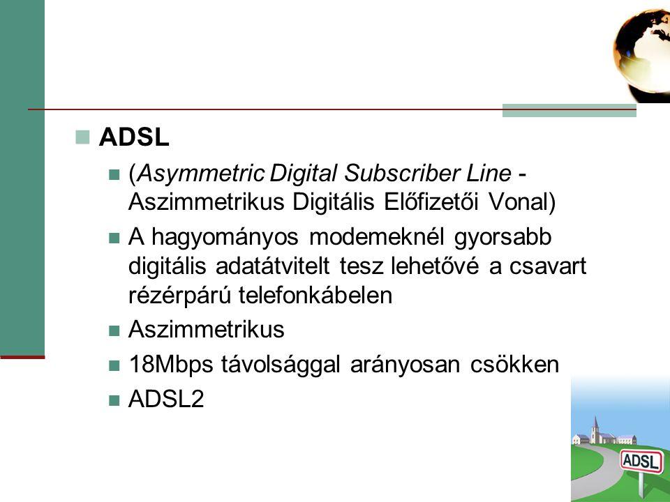 ADSL (Asymmetric Digital Subscriber Line - Aszimmetrikus Digitális Előfizetői Vonal) A hagyományos modemeknél gyorsabb digitális adatátvitelt tesz lehetővé a csavart rézérpárú telefonkábelen Aszimmetrikus 18Mbps távolsággal arányosan csökken ADSL2