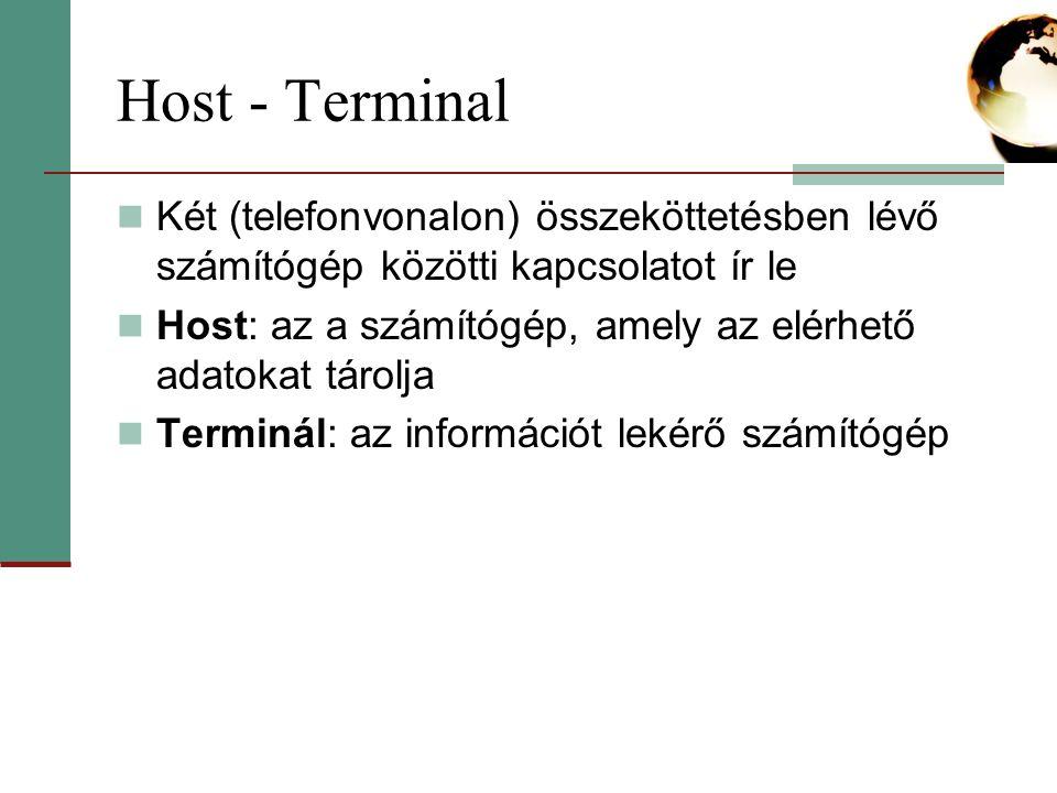 Host - Terminal Két (telefonvonalon) összeköttetésben lévő számítógép közötti kapcsolatot ír le Host: az a számítógép, amely az elérhető adatokat tárolja Terminál: az információt lekérő számítógép