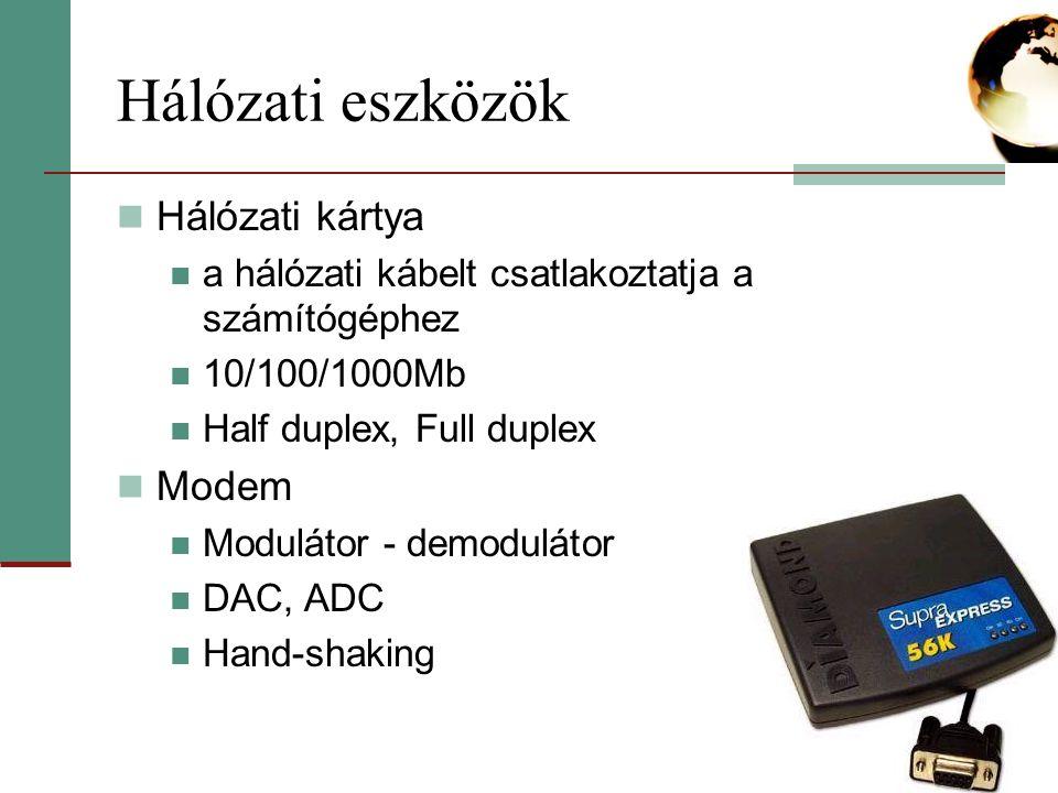 Hálózati eszközök Hálózati kártya a hálózati kábelt csatlakoztatja a számítógéphez 10/100/1000Mb Half duplex, Full duplex Modem Modulátor - demodulátor DAC, ADC Hand-shaking