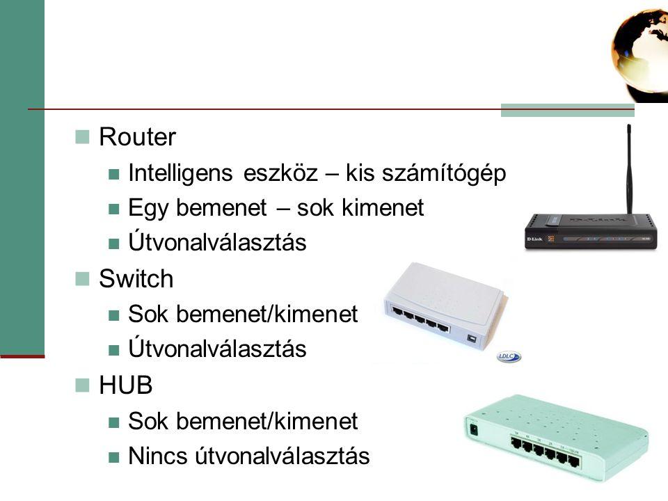Router Intelligens eszköz – kis számítógép Egy bemenet – sok kimenet Útvonalválasztás Switch Sok bemenet/kimenet Útvonalválasztás HUB Sok bemenet/kimenet Nincs útvonalválasztás