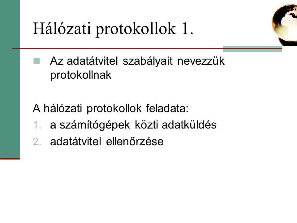 Hálózati protokollok 2.Internet Protokoll, ill.