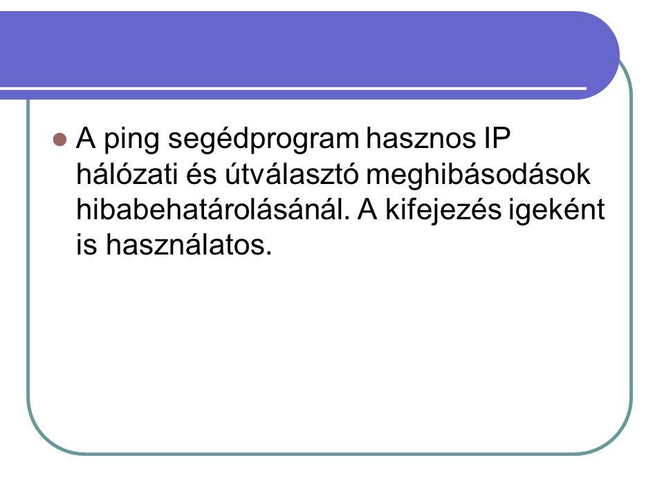 A ping segédprogram hasznos IP hálózati és útválasztó meghibásodások hibabehatárolásánál.