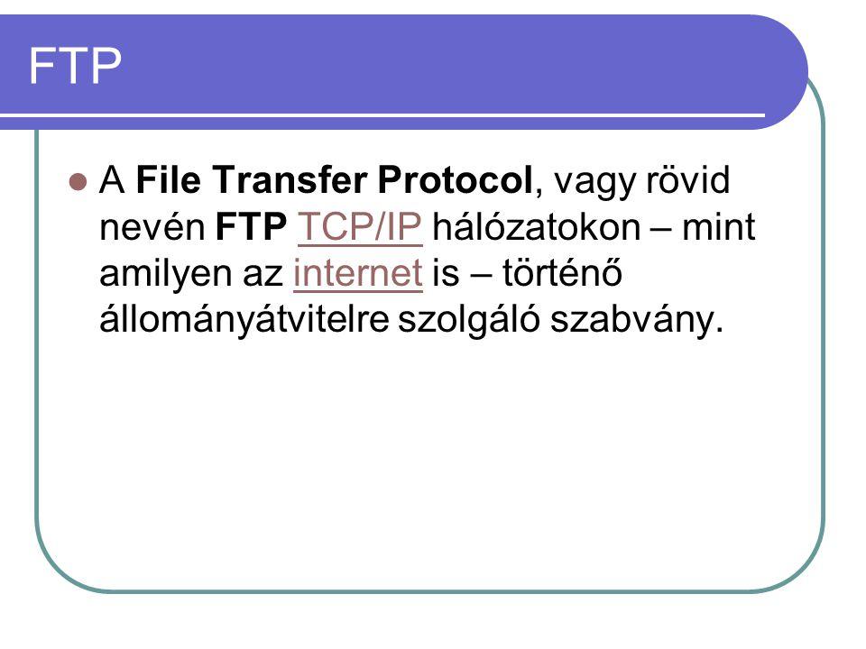 FTP A File Transfer Protocol, vagy rövid nevén FTP TCP/IP hálózatokon – mint amilyen az internet is – történő állományátvitelre szolgáló szabvány.TCP/IPinternet