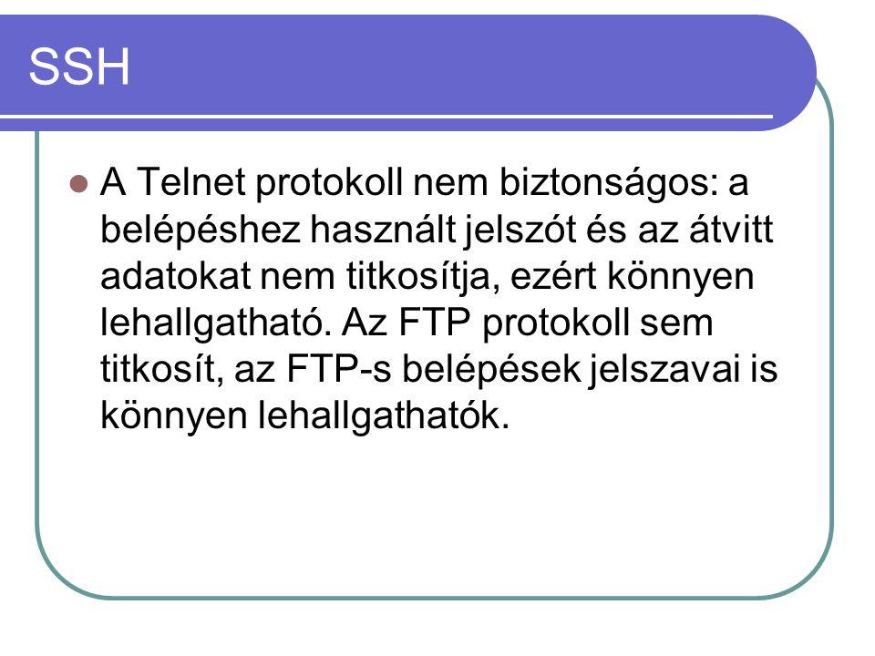 A Telnet protokoll nem biztonságos: a belépéshez használt jelszót és az átvitt adatokat nem titkosítja, ezért könnyen lehallgatható.
