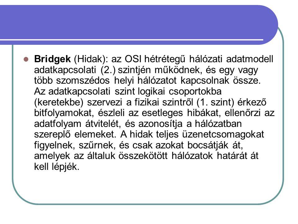 Bridgek (Hidak): az OSI hétrétegű hálózati adatmodell adatkapcsolati (2.) szintjén működnek, és egy vagy több szomszédos helyi hálózatot kapcsolnak össze.