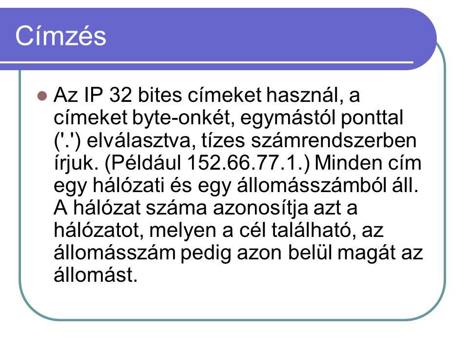Címzés Az IP 32 bites címeket használ, a címeket byte-onkét, egymástól ponttal ( . ) elválasztva, tízes számrendszerben írjuk.