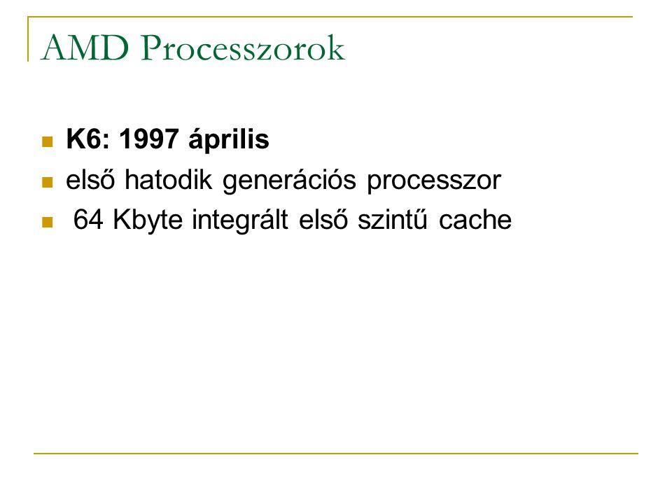 AMD Processzorok K6: 1997 április első hatodik generációs processzor 64 Kbyte integrált első szintű cache