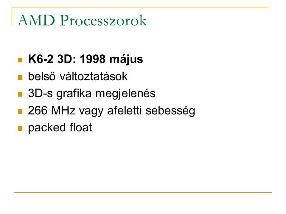 AMD Processzorok K6-2 3D: 1998 május belső változtatások 3D-s grafika megjelenés 266 MHz vagy afeletti sebesség packed float
