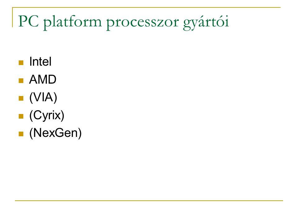 PC platform processzor gyártói Intel AMD (VIA) (Cyrix) (NexGen)