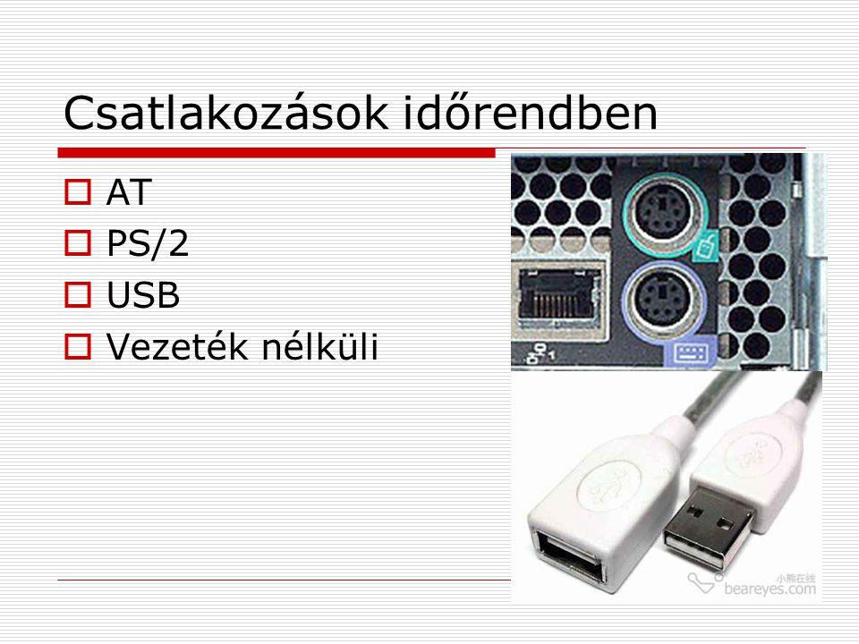 Csatlakozások időrendben  AT  PS/2  USB  Vezeték nélküli