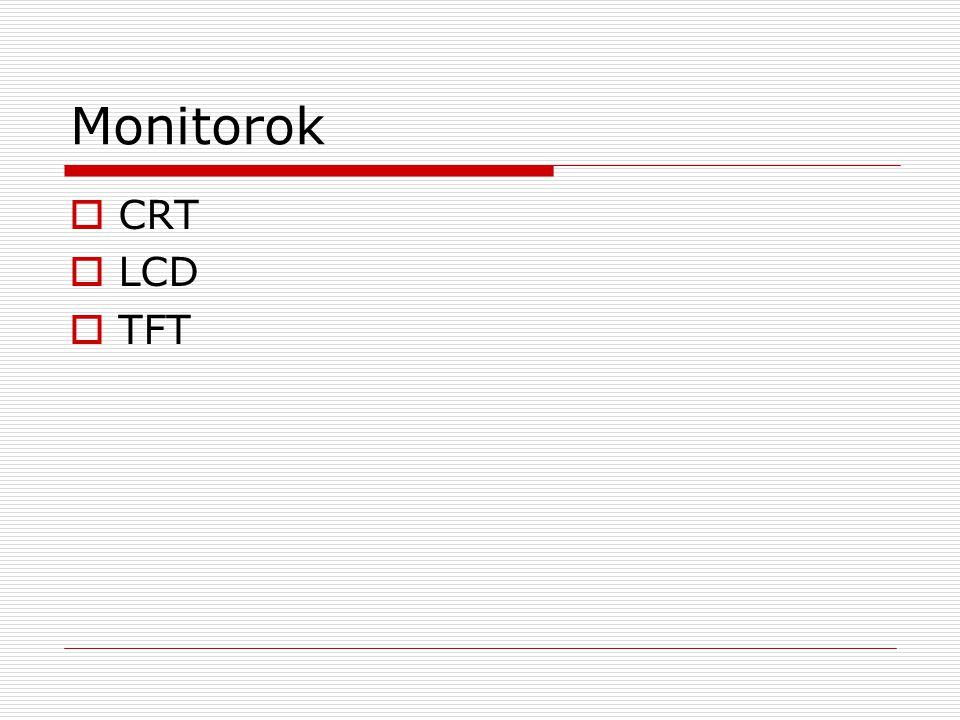 Monitorok  CRT  LCD  TFT