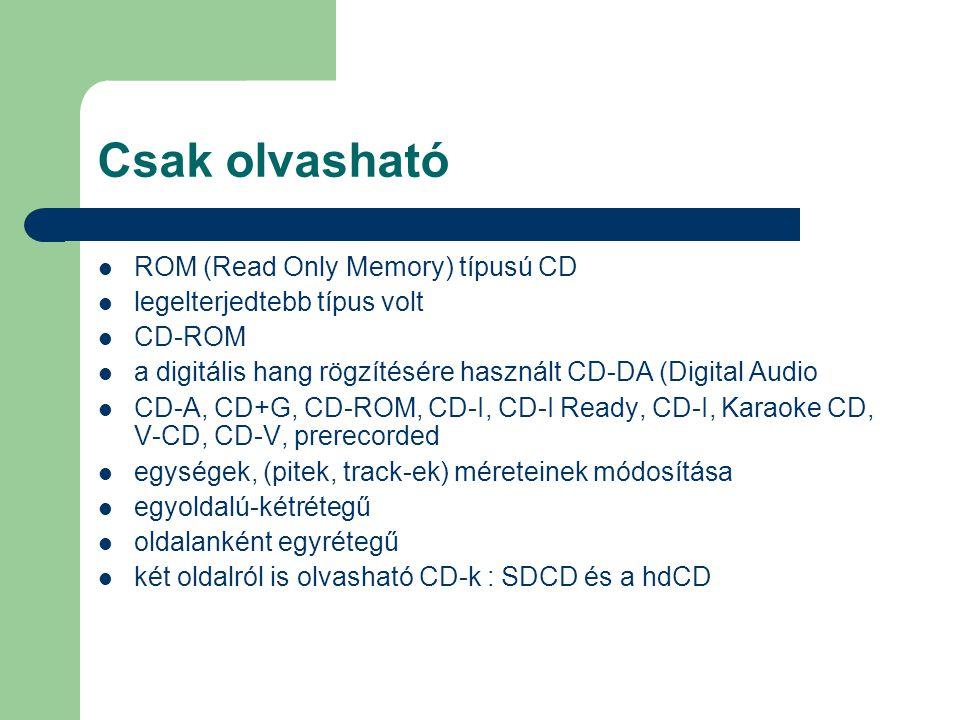 Csak olvasható ROM (Read Only Memory) típusú CD legelterjedtebb típus volt CD-ROM a digitális hang rögzítésére használt CD-DA (Digital Audio CD-A, CD+