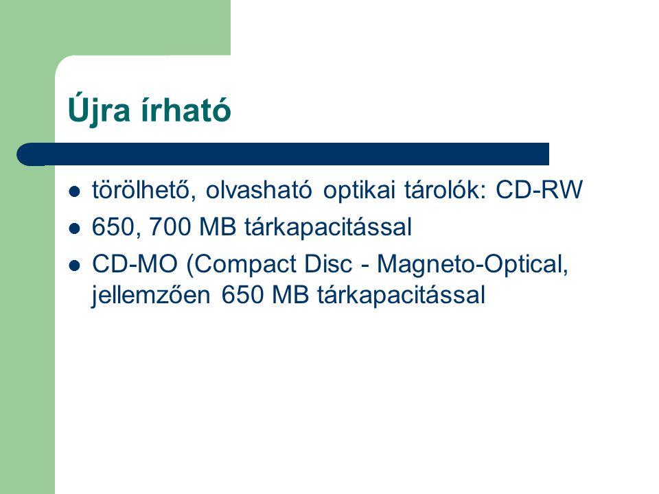 Újra írható törölhető, olvasható optikai tárolók: CD-RW 650, 700 MB tárkapacitással CD-MO (Compact Disc - Magneto-Optical, jellemzően 650 MB tárkapaci