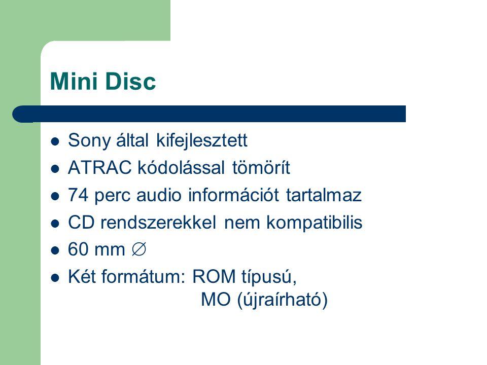 Mini Disc Sony által kifejlesztett ATRAC kódolással tömörít 74 perc audio információt tartalmaz CD rendszerekkel nem kompatibilis 60 mm  Két formátum