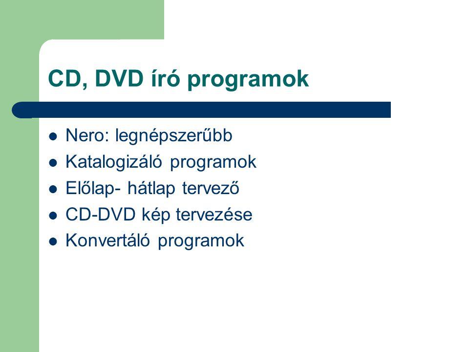 CD, DVD író programok Nero: legnépszerűbb Katalogizáló programok Előlap- hátlap tervező CD-DVD kép tervezése Konvertáló programok