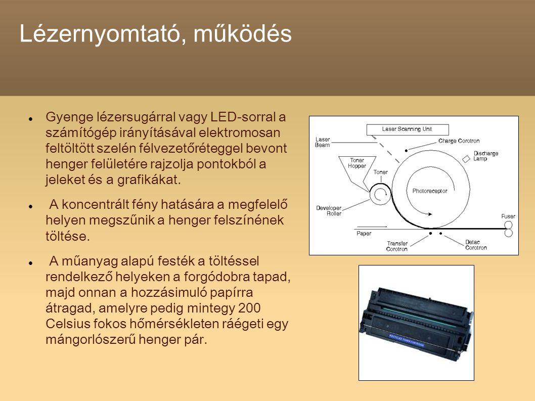 Lézernyomtató, működés Gyenge lézersugárral vagy LED-sorral a számítógép irányításával elektromosan feltöltött szelén félvezetőréteggel bevont henger felületére rajzolja pontokból a jeleket és a grafikákat.