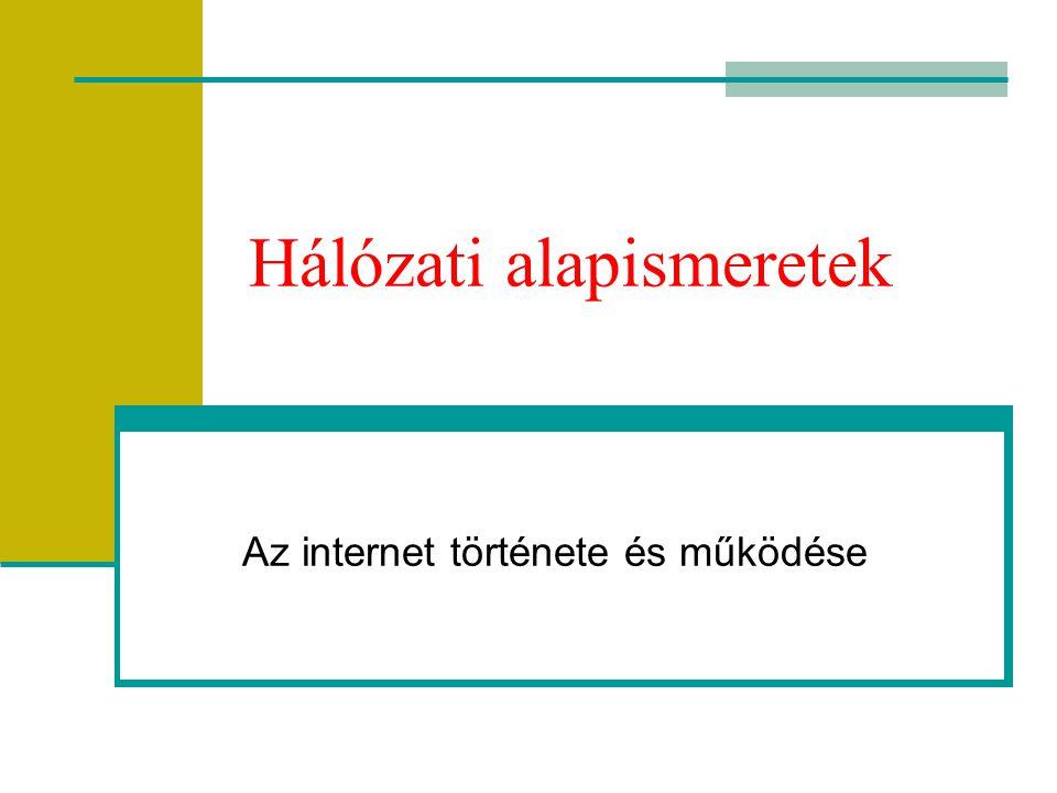 Hálózati alapismeretek Az internet története és működése