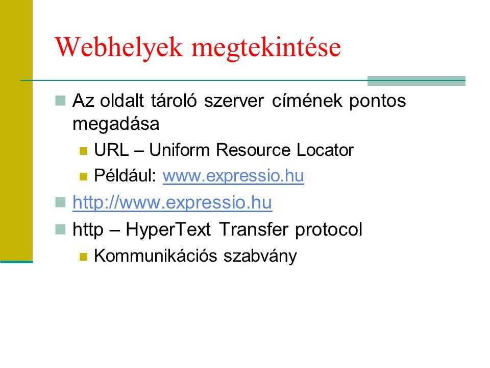 Webhelyek megtekintése Az oldalt tároló szerver címének pontos megadása URL – Uniform Resource Locator Például: www.expressio.huwww.expressio.hu http: