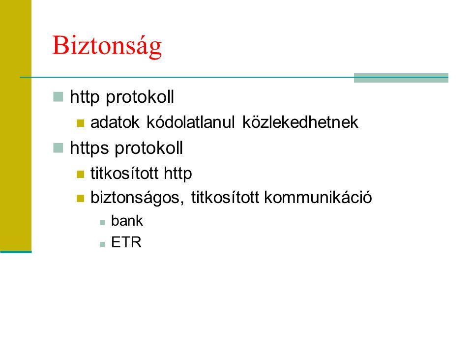 Biztonság http protokoll adatok kódolatlanul közlekedhetnek https protokoll titkosított http biztonságos, titkosított kommunikáció bank ETR