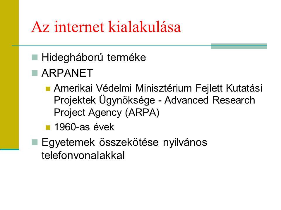 Az internet kialakulása Hidegháború terméke ARPANET Amerikai Védelmi Minisztérium Fejlett Kutatási Projektek Ügynöksége - Advanced Research Project Ag