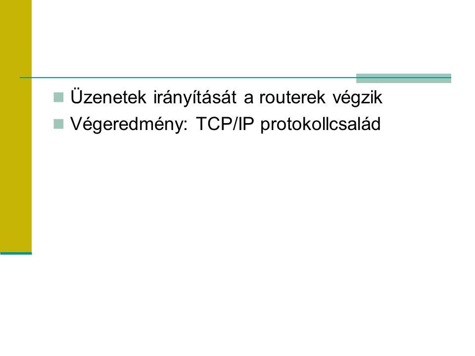 Üzenetek irányítását a routerek végzik Végeredmény: TCP/IP protokollcsalád