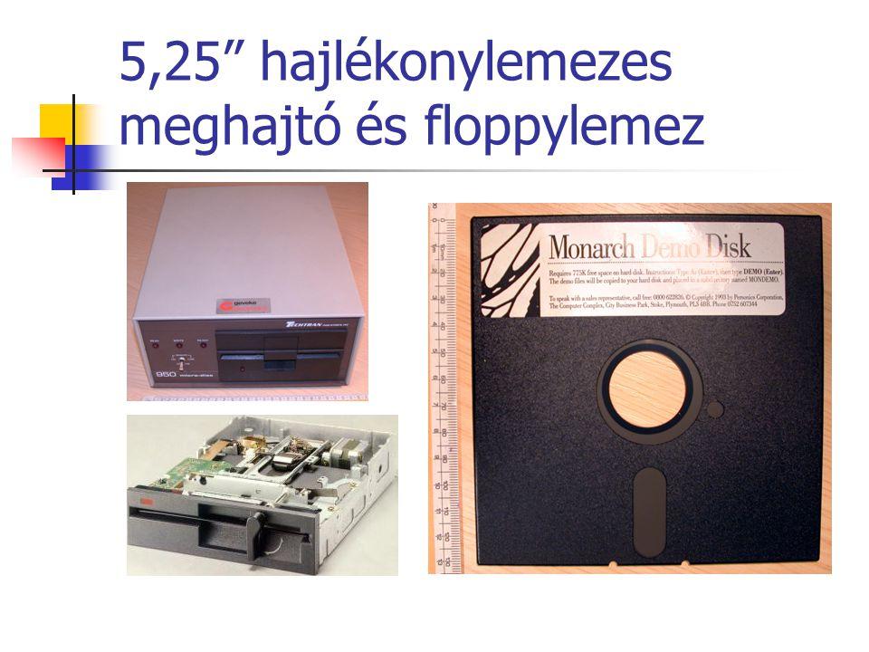 """5,25"""" hajlékonylemezes meghajtó és floppylemez"""
