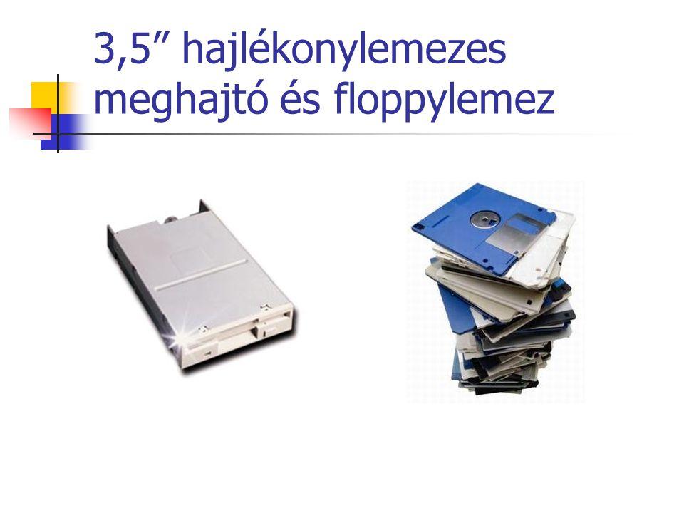 """3,5"""" hajlékonylemezes meghajtó és floppylemez"""