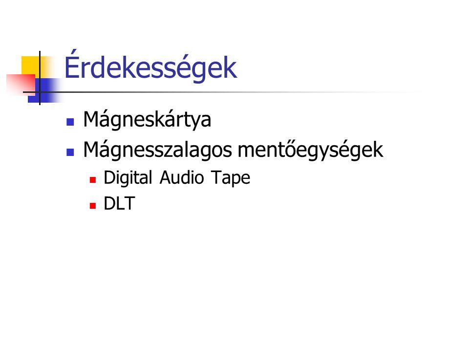 Érdekességek Mágneskártya Mágnesszalagos mentőegységek Digital Audio Tape DLT