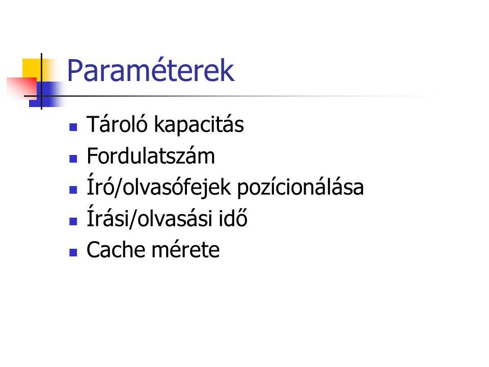 Paraméterek Tároló kapacitás Fordulatszám Író/olvasófejek pozícionálása Írási/olvasási idő Cache mérete
