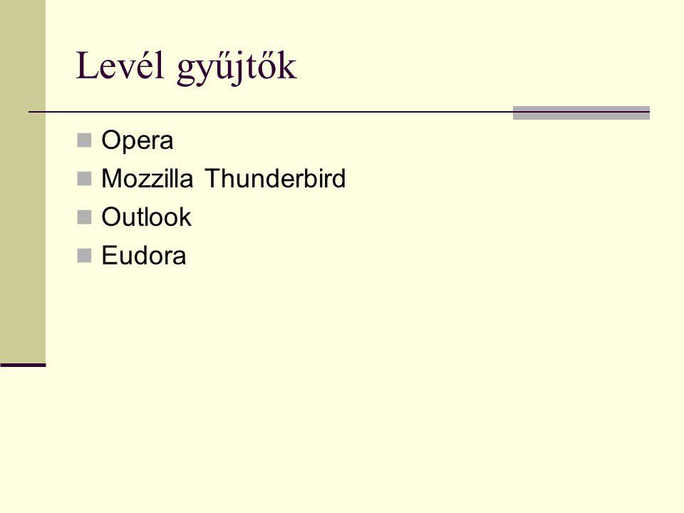 Levél gyűjtők Opera Mozzilla Thunderbird Outlook Eudora