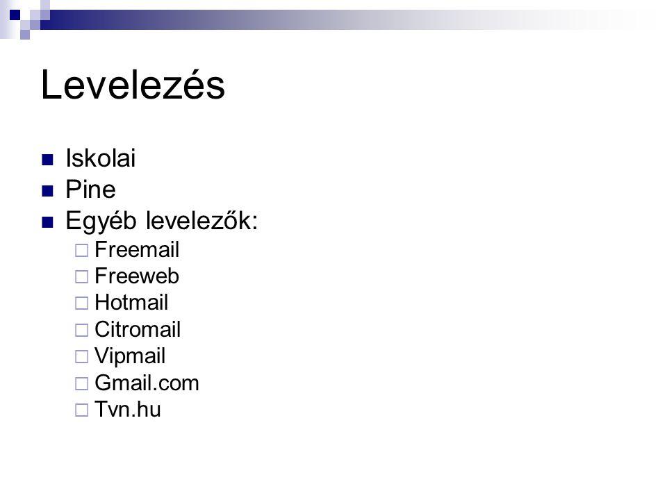 Levelezés Iskolai Pine Egyéb levelezők:  Freemail  Freeweb  Hotmail  Citromail  Vipmail  Gmail.com  Tvn.hu