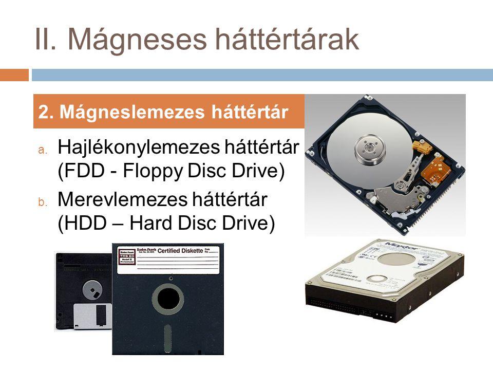 II.Mágneses háttértárak 2. Mágneslemezes háttértár a.