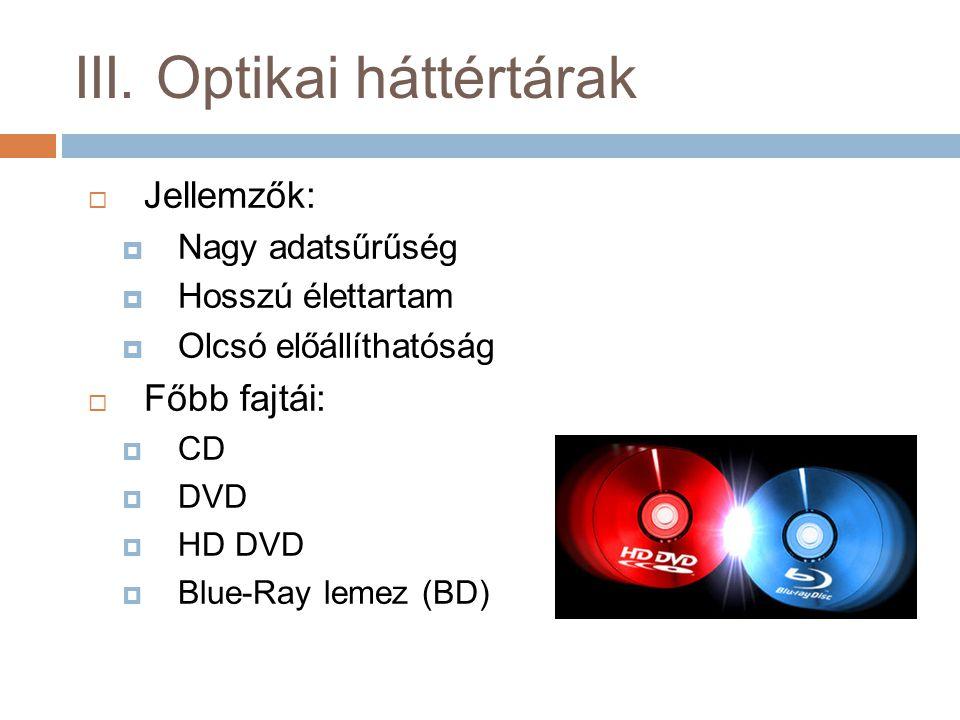  Jellemzők:  Nagy adatsűrűség  Hosszú élettartam  Olcsó előállíthatóság  Főbb fajtái:  CD  DVD  HD DVD  Blue-Ray lemez (BD)