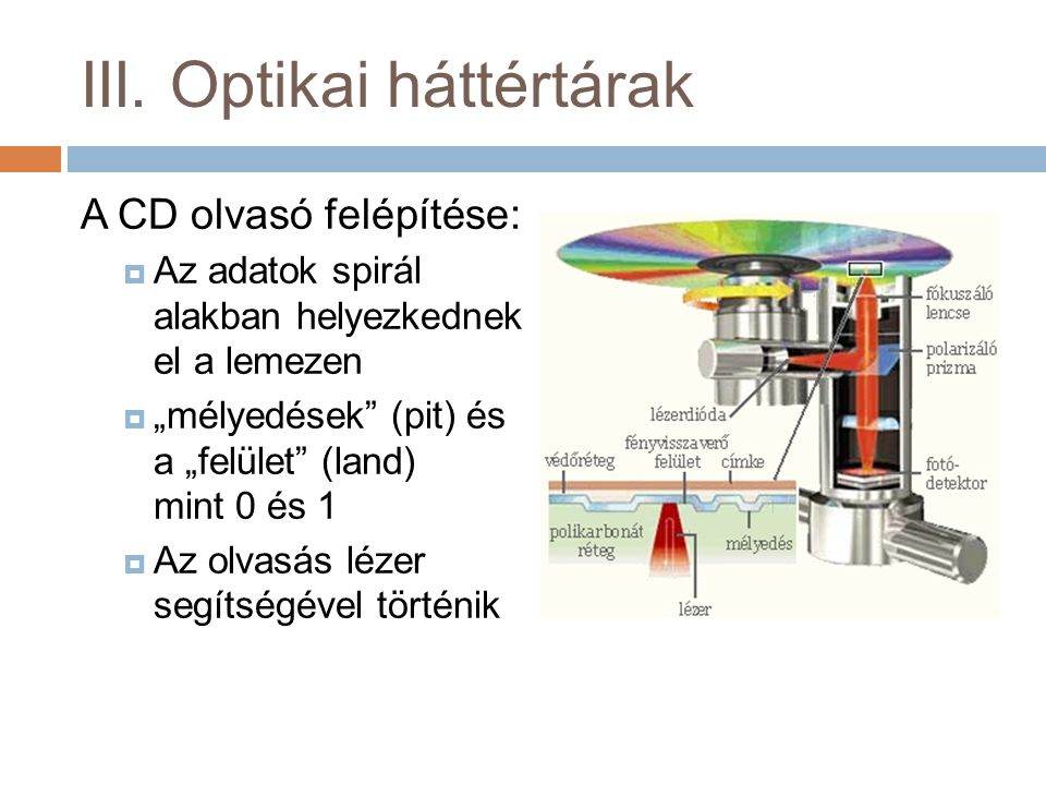 """III. Optikai háttértárak A CD olvasó felépítése:  Az adatok spirál alakban helyezkednek el a lemezen  """"mélyedések"""" (pit) és a """"felület"""" (land) mint"""