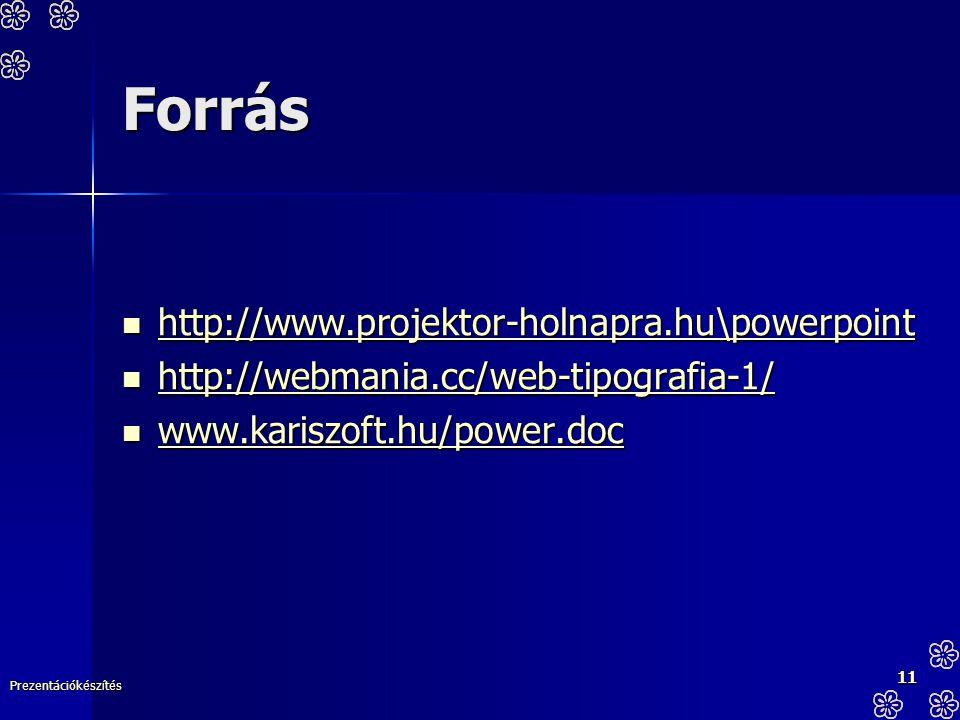 Prezentációkészítés 11 Forrás http://www.projektor-holnapra.hu\powerpoint http://www.projektor-holnapra.hu\powerpoint http://www.projektor-holnapra.hu