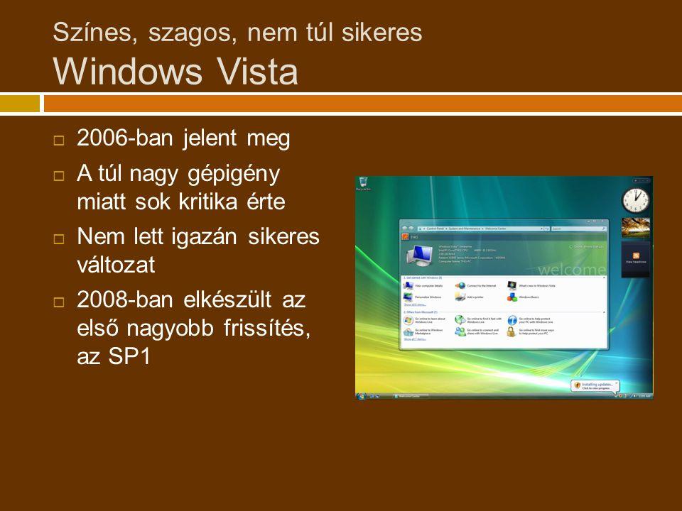 Színes, szagos, nem túl sikeres Windows Vista  2006-ban jelent meg  A túl nagy gépigény miatt sok kritika érte  Nem lett igazán sikeres változat  2008-ban elkészült az első nagyobb frissítés, az SP1