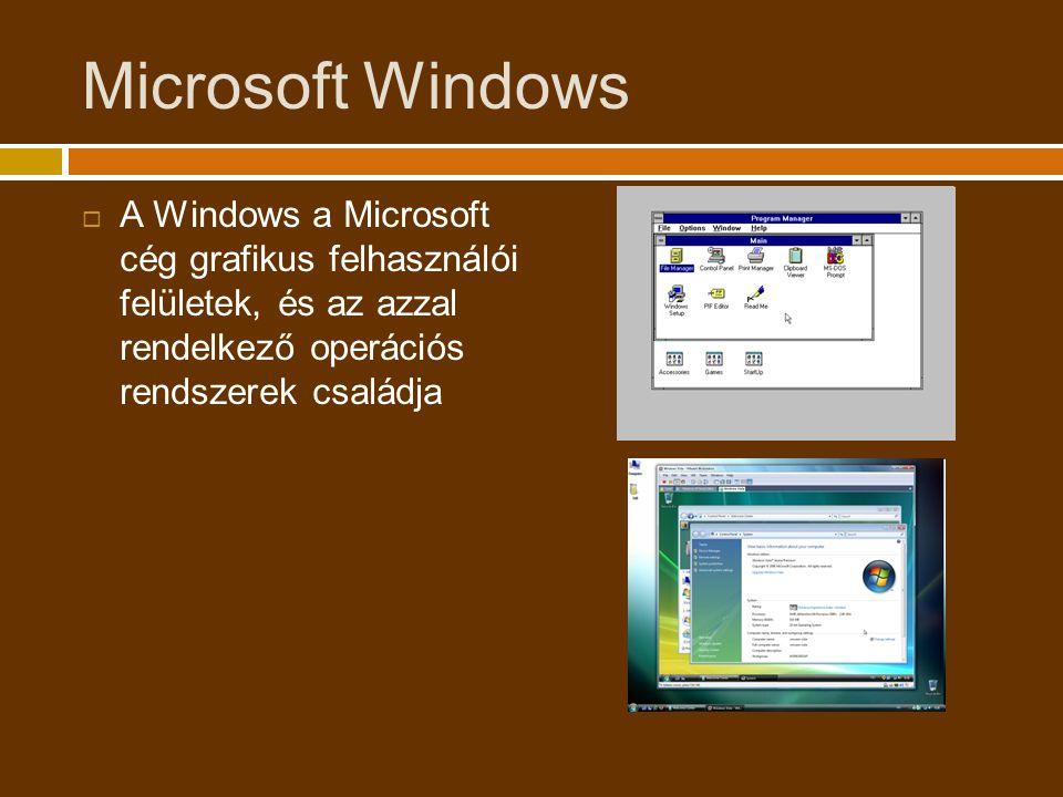 Microsoft Windows  A Windows a Microsoft cég grafikus felhasználói felületek, és az azzal rendelkező operációs rendszerek családja