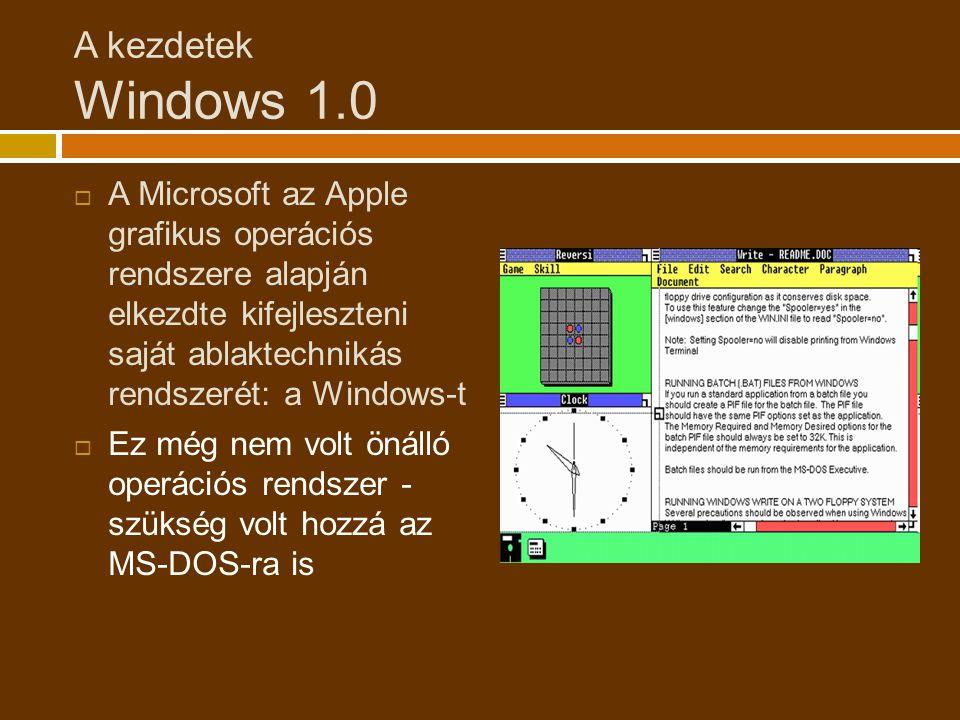 A kezdetek Windows 1.0  A Microsoft az Apple grafikus operációs rendszere alapján elkezdte kifejleszteni saját ablaktechnikás rendszerét: a Windows-t  Ez még nem volt önálló operációs rendszer - szükség volt hozzá az MS-DOS-ra is