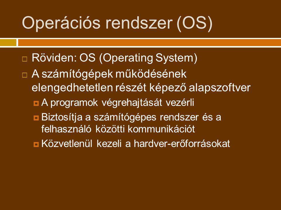 Az OS felépítése  Shell (felhasználói felület)  Grafikus felület  Szöveges felület  Alacsony szintű segédprogramok  Kernel (rendszermag)