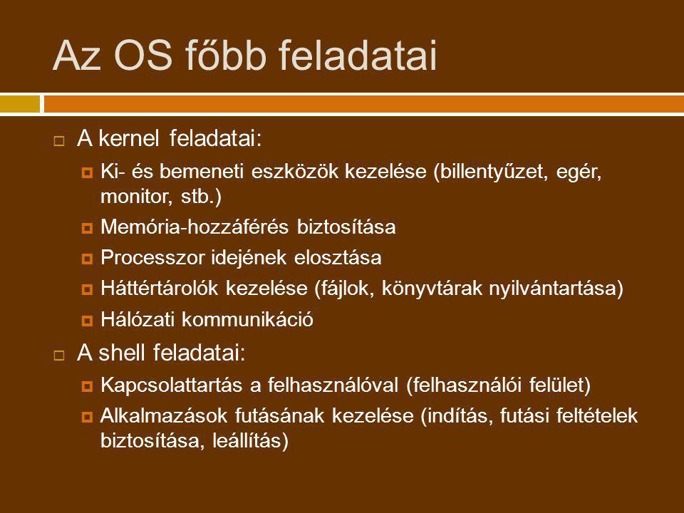 Az OS főbb feladatai  A kernel feladatai:  Ki- és bemeneti eszközök kezelése (billentyűzet, egér, monitor, stb.)  Memória-hozzáférés biztosítása 