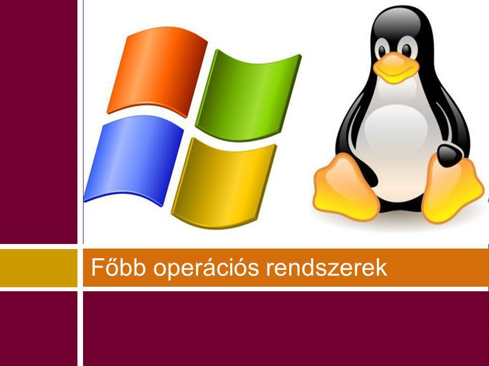 A három jelentősebb OS-család Microsoft WindowsUnix/Linux Apple Mac OS / Mac OS X